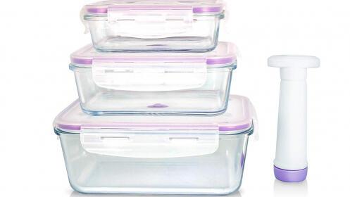 Set 3 envases de vidrio herméticos con cierre al vacío